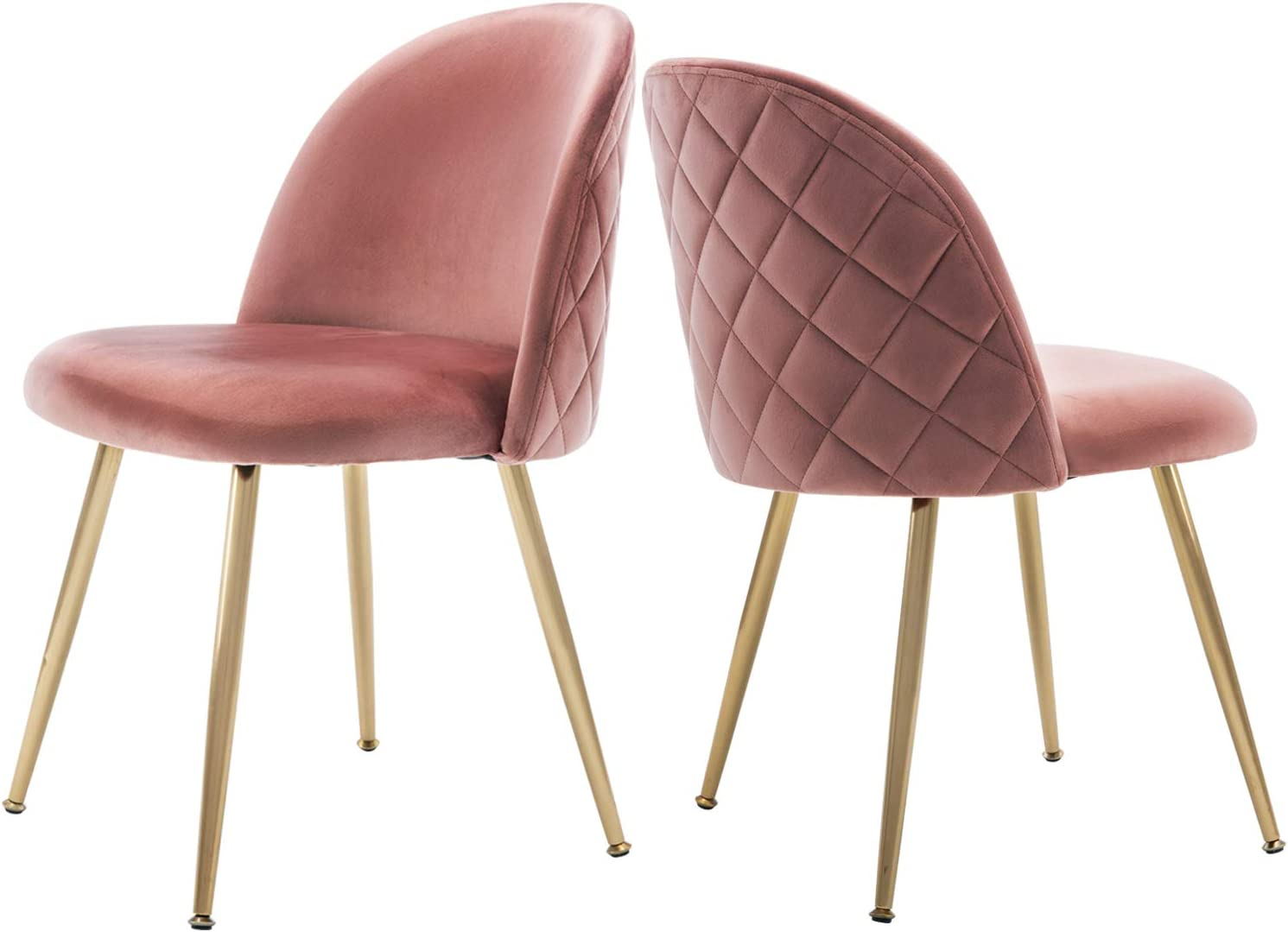 Modern Velvet Dining Chairs, Upholstered Living Room Accent Chairs, Gold Vanity Chairs, Set of 2 - Pink