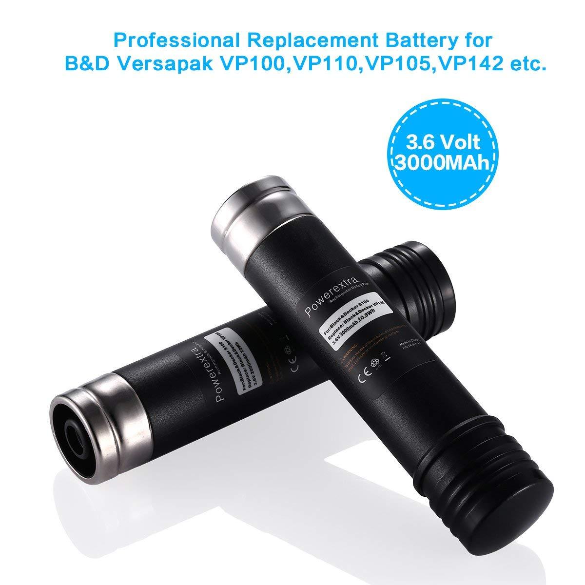 Powerextra 2.0Ah 3.6V 2 Pack Replacement Battery for Black&Decker Versapak Vp100 Vp105 Vp110 Vp142 Vp143 Vp7240 Sears-Craftsman Pivot180 PLR36NC S100 S110 151995-03 387854-00 383900-03