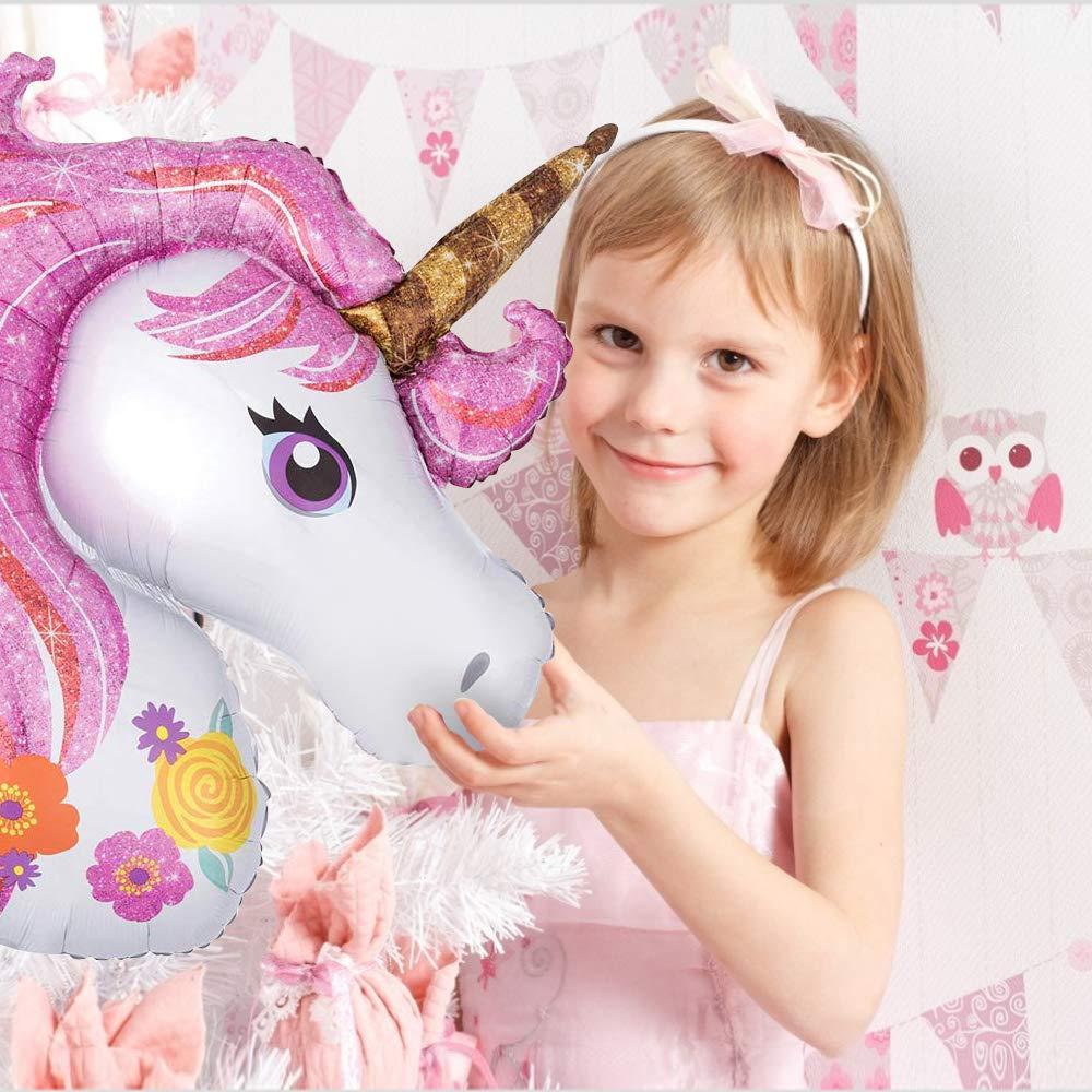Palloncino Unicorno Decorazioni per Feste per Bambini Enormi Palloncini Lamina 3D,Happy Birthday Buon Compleanno Ballon Banner, Palloncini di Macaron in Lattice,Pompa ad Aria,Totale 29pcs