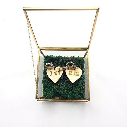I Do Me Too - Caja de cristal rústica para anillos de boda, caja de