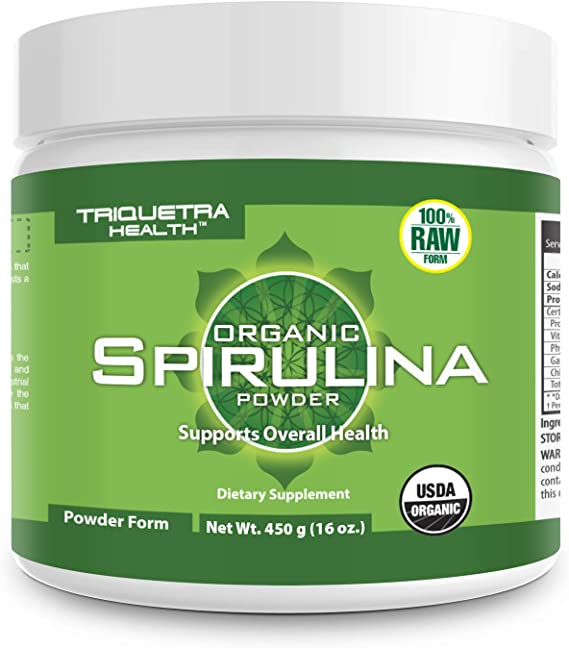 Organic Spirulina Powder: 4 Organic Certifications - Certified Organic by USDA, Ecocert, Naturland & OCIA - Vegan Farming Process, Non-Irraditated, Max Nutrient Density (16 oz.)
