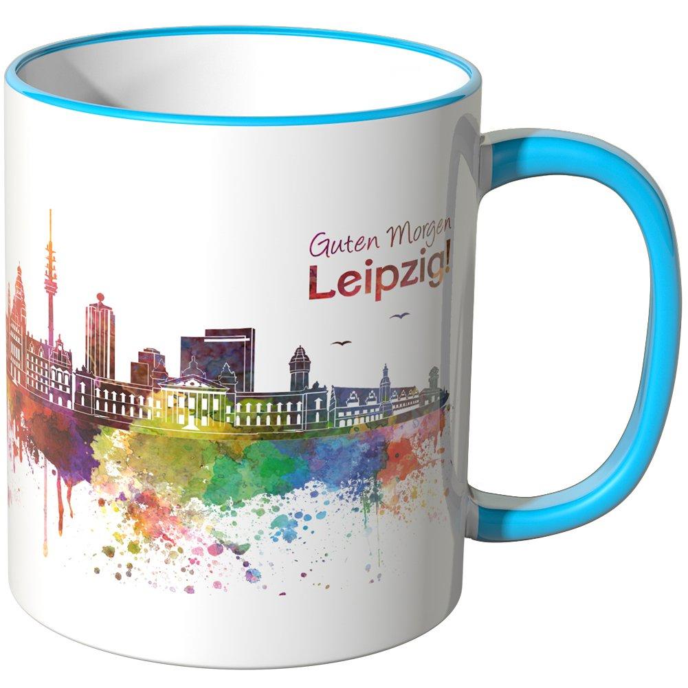 Wandkings Tasse Schriftzug Guten Morgen Leipzig Mit Skyline Schwarz