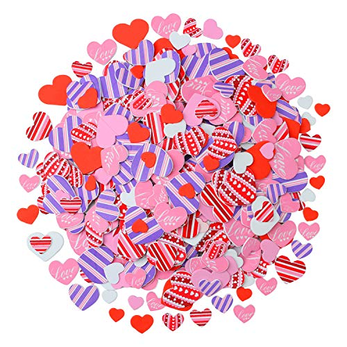 Elcoho 600 Pieces Heart Shaped Foam Stickers Self Adhesive Valentine's Day Love Decorative Sticker for Valentine's Day, Wedding or DIY Crafts, Assorted Size and Color