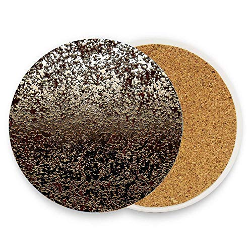 Ceramic Coaster Glass Cup Holder Coffee Mug Place Mat for Drinks Pack Of 1 - Abstract Caramel Brown Crackle Texture On Ombre Grey