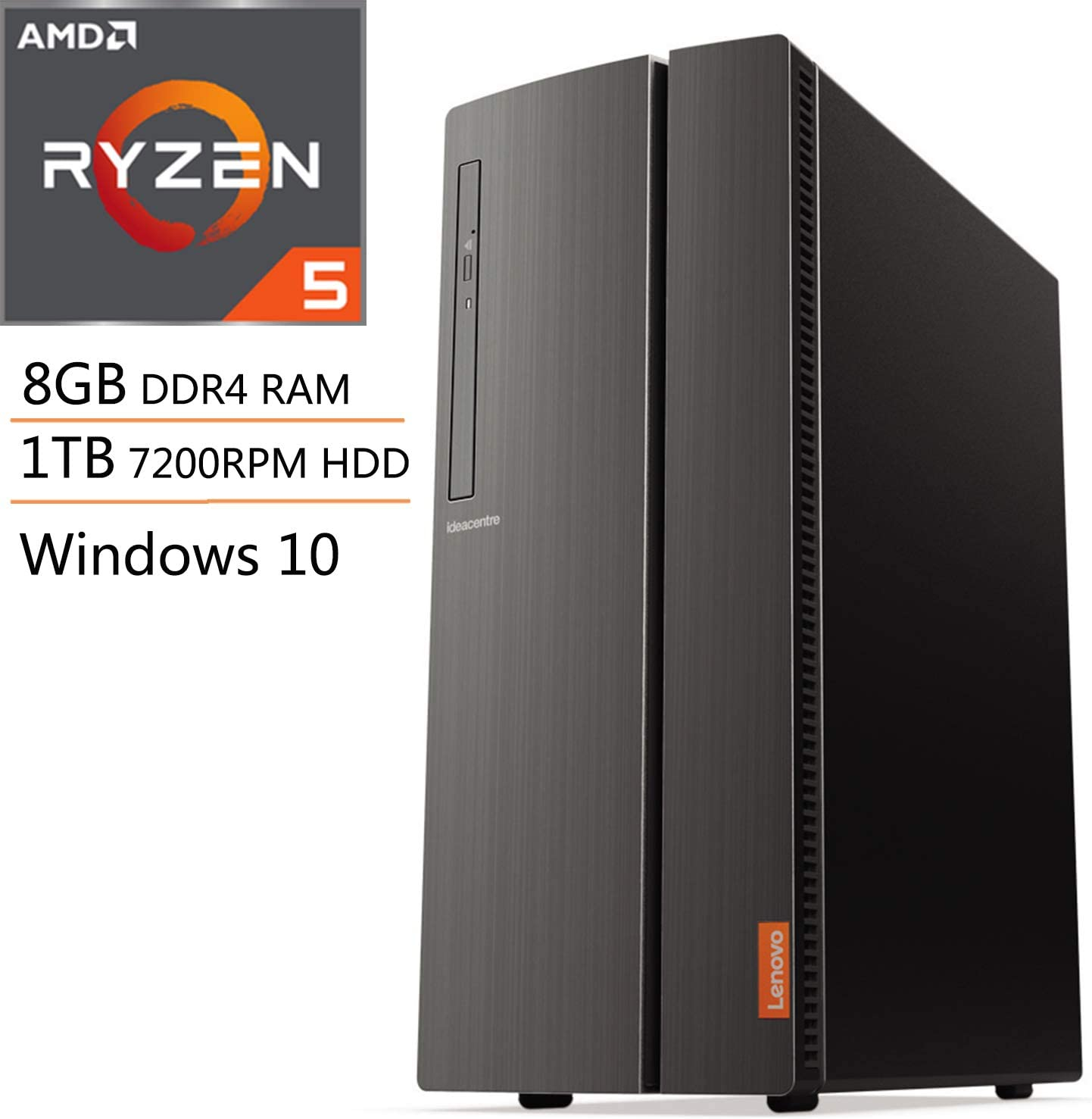Lenovo IdeaCentre 510A Desktop Computer, Quad-Core AMD Ryzen 5 3400G up to 4.2GHz (Beats i7-8705G), 8GB DDR4 RAM, 1TB 7200RPM HDD, DVDRW, AC WiFi, 7-in-1 Card Reader, Windows 10, iPuzzle Mouse Pad