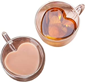 Heart Shaped Espresso Cups Set Of 2-Double Wall Glass Coffee Cup Insulated Mugs With Closed Handle-Heat Resistant Glass Espresso Drinkware - Perfect To Keep Your Espresso Hot