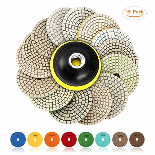 SPTA 15pcs Diamond Wet Polishing Pads Set, 4 inch pads for Granite Stone Concrete Marble Floor Grinder or Polisher, 50#-6000# with Hook & Loop Backing Holder Disc