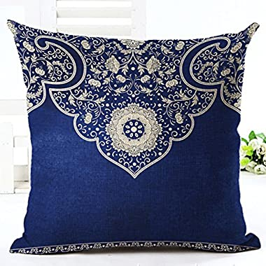 Bohemian style blue background pattern Throw Pillow Case Cushion Cover Decorative Cotton Blend Linen Pillowcase for Sofa 18  X 18