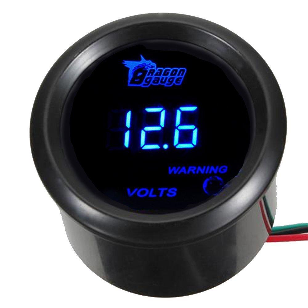 E Support/™ 2 52mm Black Car Motor Digital Blue LED Volt Voltage LED Gauge Meter