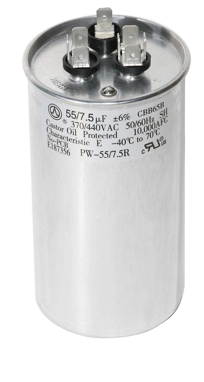 55//5 MFD Round Motor Dual Run Capacitor 55+5 uF 370 440 Volt AC VAC 50//60Hz HVAC