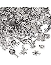Naler 120pcs Mixed Styles Retro Silver Pendant Charm for DIY Jewellery Making, Keyring Bracelet, Necklace, Earring, Jewellery Finding Craft Decoration Accessories, Random Style