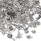 Naler 120pcs Mixed Styles Retro Silver Pendant Charm for DIY Jewellery Making, Bracelet