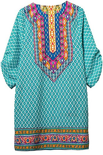Neck Tie 8 Dress Style Summer Ethnic WIWIQS Vintage Bohemian Pattern Printed Casual Beach Womens tqpwxOCHE