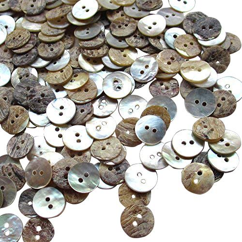 - New Upick 11/13/15/23mm 100pcs Shell Buttons Sewing Craft Buttons 2 Holes (13mm)