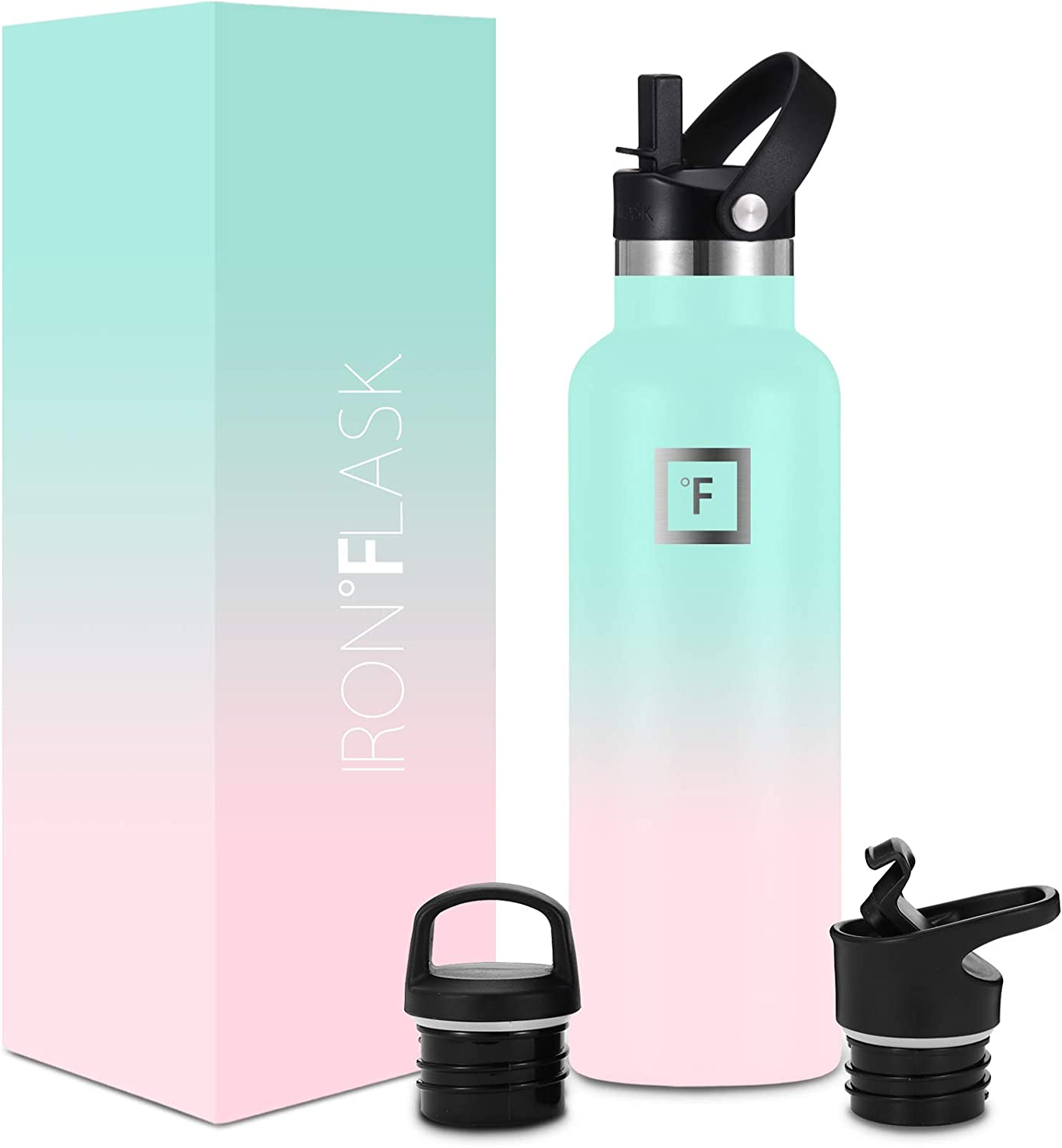 IRON °FLASK Narrow Mouth Sports Water Bottle - 20 Oz, 3 Lids (Straw Lid), Vacuum Insulated Stainless Steel, Hot Cold, Modern Double Walled, Simple Thermo Mug, Standard Hydro Metal Canteen