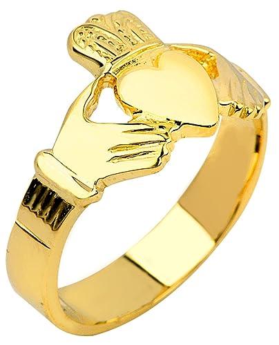 Amazon.com: Sólido 14 K oro Claddagh Anillo para los hombres ...