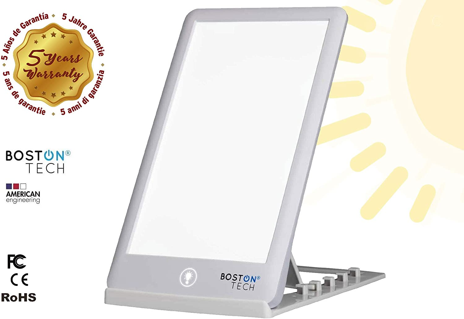 Boston Tech WE-113 – High Luminosity Portable Daylight Therapy Lamp, 15.000 Lux of Bright White Full Spectrum Light with 3 Diferent Intensity Levels and UV Free. LED Technology.