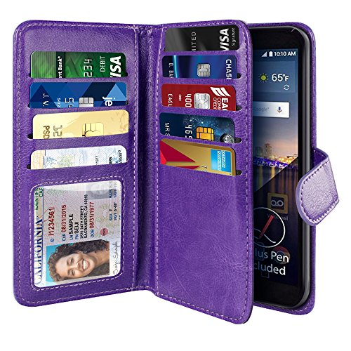 - NEXTKIN LG Stylo 3 Stylus 3 Case, Leather Dual Wallet Folio TPU Cover, 2 Large Pockets Double flap Privacy, Multi Card Slots Snap Button Strap For LG Stylo 3 Stylus 3 LS777/Stylo 3 Plus - Purple