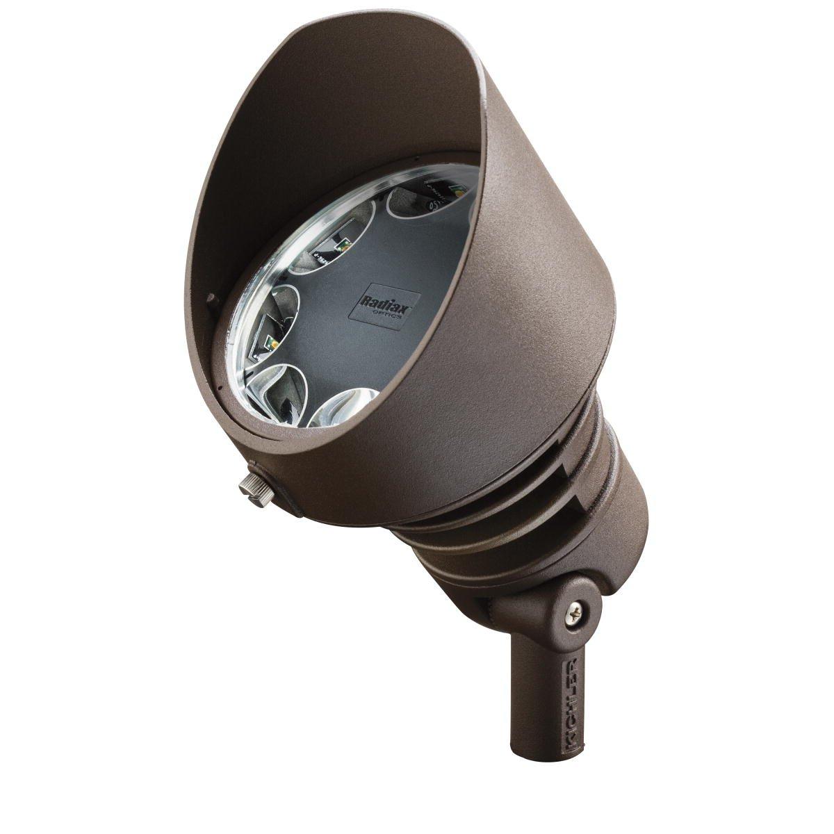 Kichler Lighting 16012AZT27 Landscape Aluminum 12V/21-watt 8-Diode LED 10-Degree Adjustable Spot Light, Textured Architectural Bronze