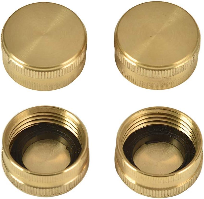 REGNHLIF 3/4 Inch Garden Hose End Caps, Female End Cap, Brass Spigot Cap, Hose Plug,Faucet Cap, 4 Pack