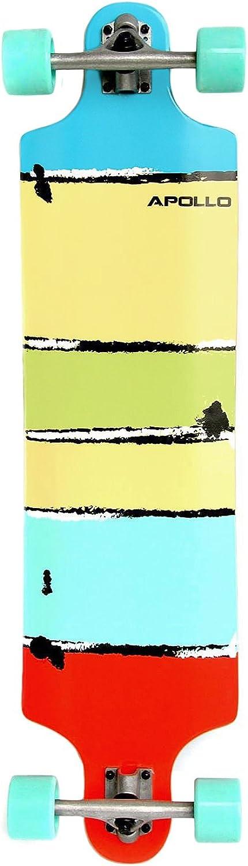Apollo Longboard édition spéciale Board Complet y Inclus Outil en Forme de T, avec roulements à Billes ABEC High Speed, Drop-Through Freeride Skaten Cruiser Boards Maui Colour