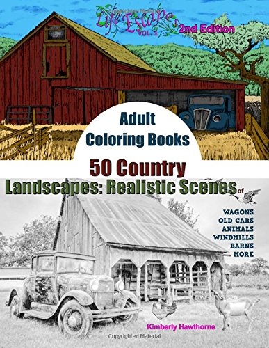 Adult Coloring Books 50 Country Landscapes 2nd Edition Realistic Scenes Of Windmills Old
