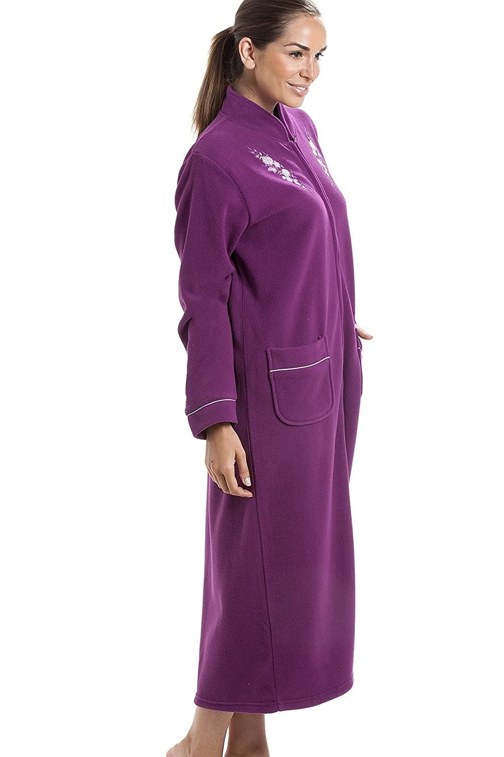 3e949d99db Camille Womens Ladies Soft Warm Fleece Purple Zip Up Front Housecoat 10 12   Camille  Amazon.co.uk  Clothing