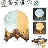 3D lampada luna LED Moon Lamp White / Caldo Dimmable Toccare Controllo Della Luminosità Night Light Luna con USB Caricamento e Monte di Legno, Miglior Regalo per 一 With gift box(10CM)