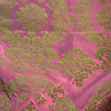 "DAMASK FLOCKED TAFFETA FABRIC 58""/60"" WIDE BY THE YARD RASPBERRY/BROWN"