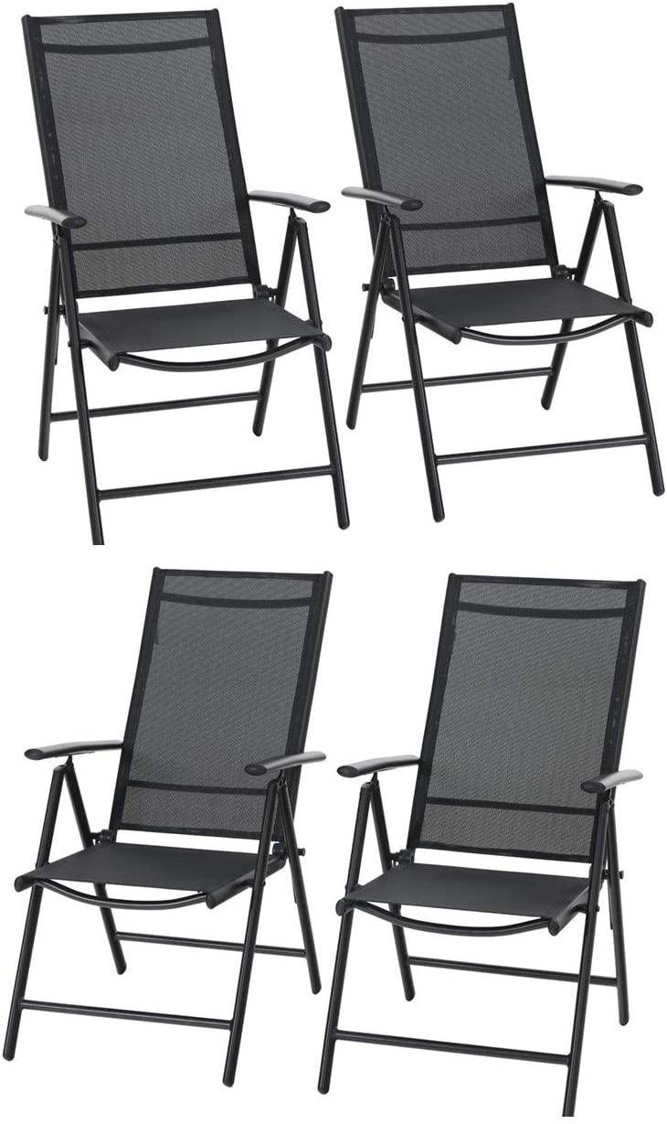 Sophia William Patio Foldable Dining Chairs Set of 4, Outdoor Folding Sling Chairs 7 Levels Adjustable, High Back Portable Chairs for Porch, Poolside, Patio, Garden, Balcony, Backyard, Black