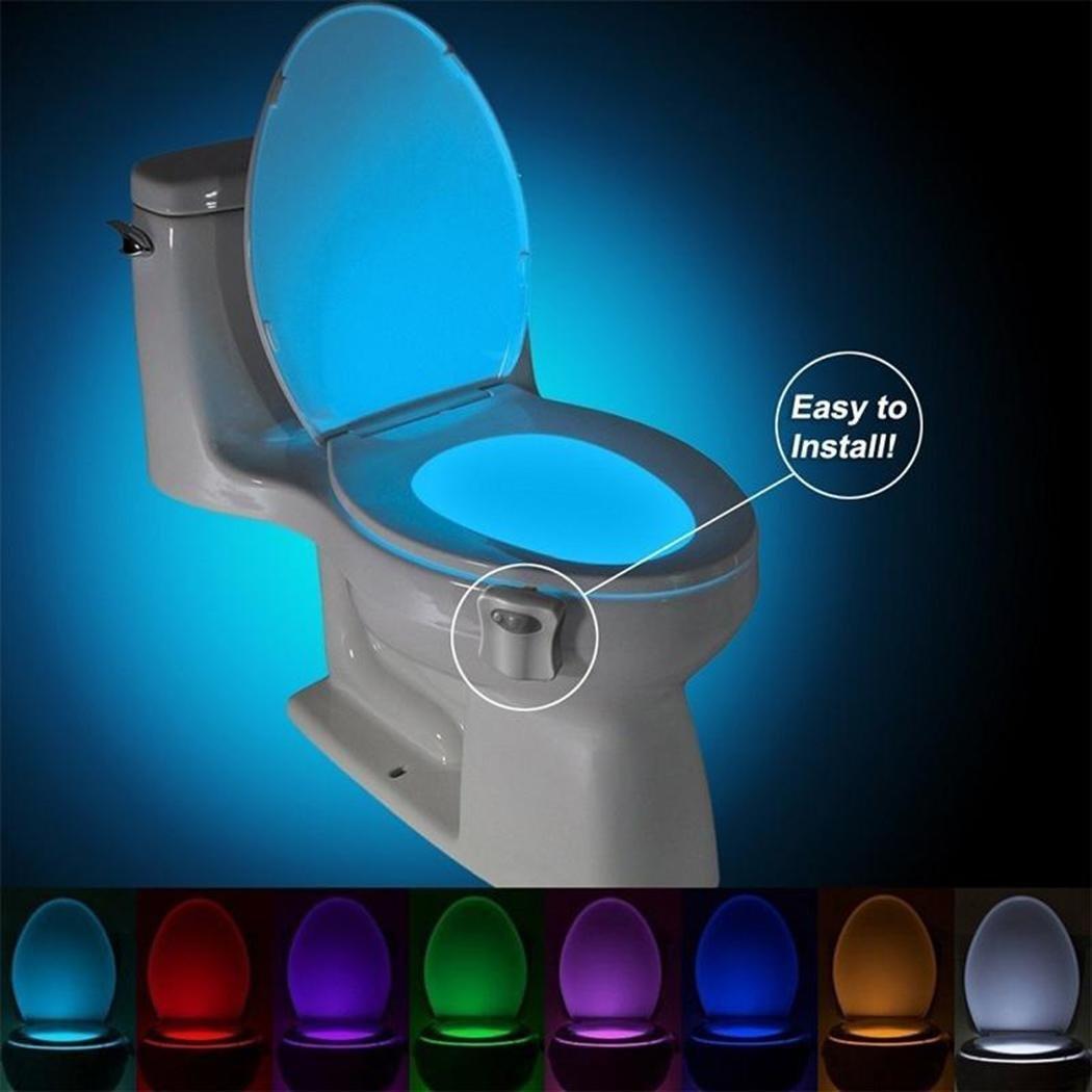Minlop 16 Colores Sensor de Movimiento luz LED Automática Inodoro Luz para Baño, Hotel, Cafe Bar, Facil de Limpia y Usar(Batería no Incluida)