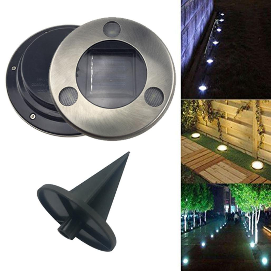 3LED Solar Powered Buried Under Ground Lights Outdoor lamp Waterproof LED Solar Path Lights Garden friendGG Landscape Spike Lighting for Yard Driveway Lawn Pathway White Path Way Garden Decking White, Solar panel power: 2V//80mA