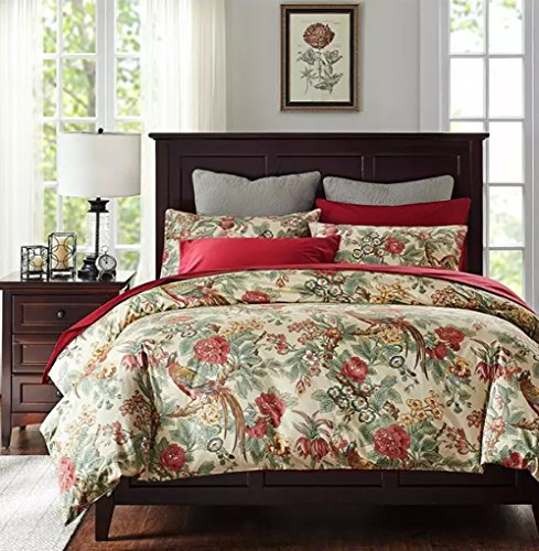 Chinoiserie Chic Peacock Floral Duvet Cover Paradise Garden Botanical Bird and Tree Branches Vintage Stylized Long Staple Cotton Bedding Set (Queen, Autumn Red) (Asian Inspired Bedding)
