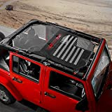 Automotive : RT-TCZ Jeep Wrangler US Flag Durable Polyester Mesh Shade Top Cover Provides UV Sun Protection for Your 4-Door JK or JKU (2007-2017) Original Black And White