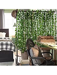 12 Pack (Each 82 Inch) Artificial Greenery Fake Hanging Vine Plants Leaf  Garland Hanging
