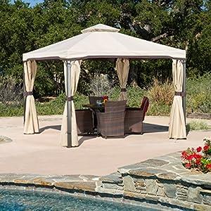 Sonoma Outdoor Iron Gazebo Canopy w/ Net Drapery by Great Deal Furniture