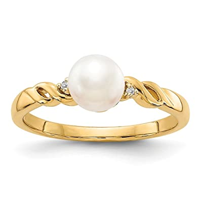 fd94aa1f0 Image Unavailable. Image not available for. Color: Roy Rose Jewelry 14K  Yellow Gold FW Cultured Pearl and Diamond Ring - Size: 7