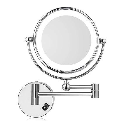 Specchio Ingranditore Arredo Bagno.Amzdeal Specchio Ingranditore Da Trucco Specchio Da Bagno Specchio Cosmetico Illuminato Ingradimento 7x Con Luce Led