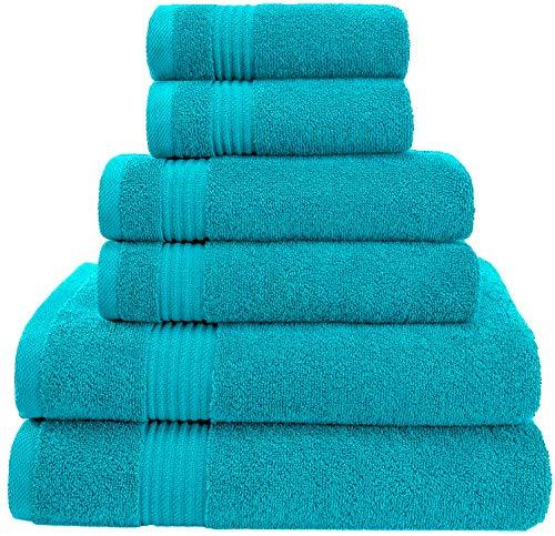 AmericanVeteranTowel Hotel Quality Super Absorbent & Soft Genuine Cotton, 6 Piece Turkish Towel Set for Kitchen & Decorative Bathroom Sets Includes 2 Bath Towels 2 Hand Towels 2 Washcloths, Aqua