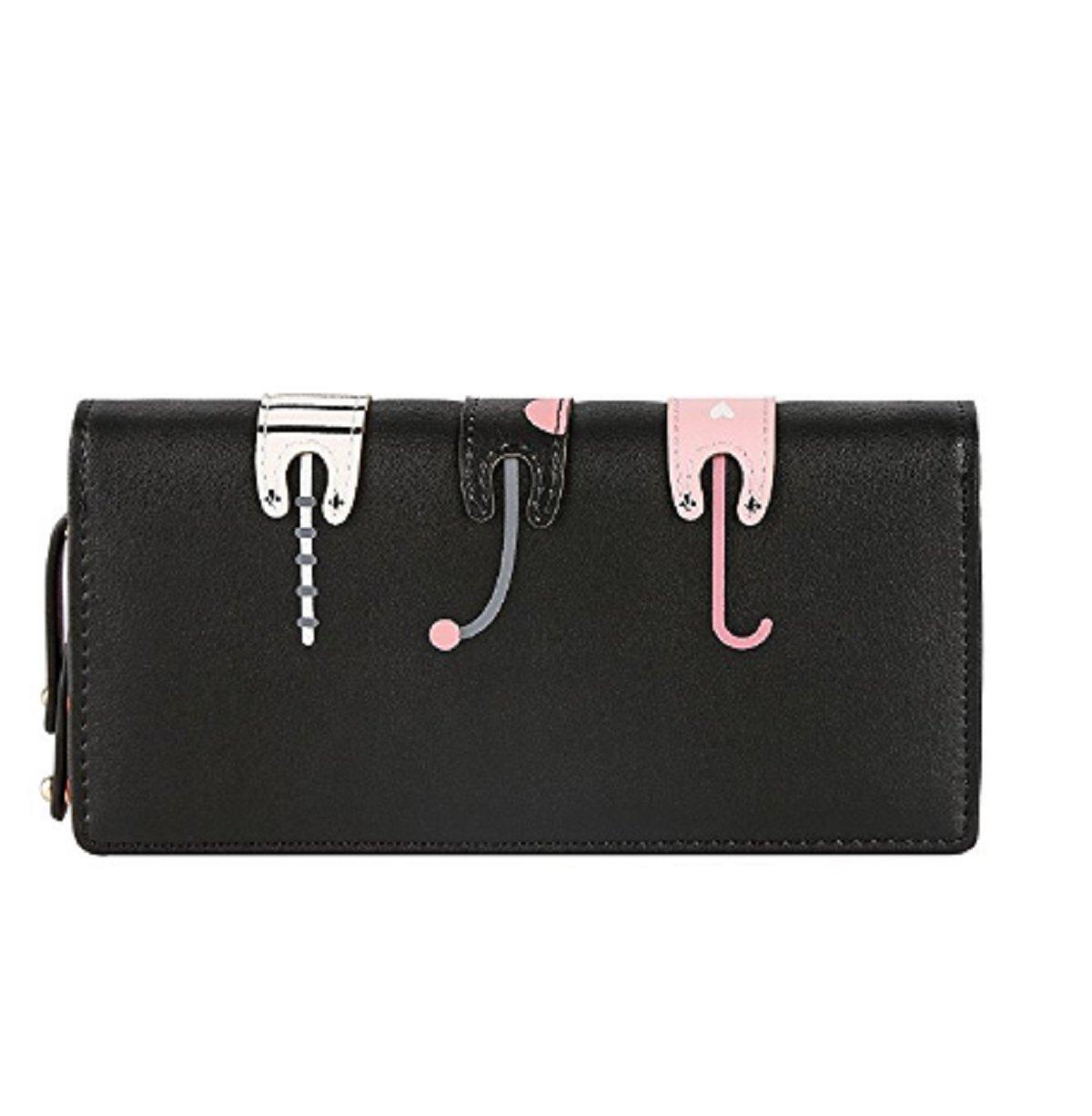 Womens Wallet Cute Cat Wallet Coin Purse Bifold Long Purse with Zipper Black