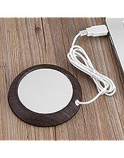 USB Wood Grain Cup Warmer Heat Beverage Mug Mat Office Tea Coffee for Office Home Cocoa Tea Water Milk Heater Pad Hot Coffee Plate Accessories (Dark Wooden Grain)