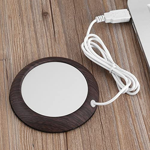 Cup WarmerUSB CableBeverage Warmers USB Wood Grain Cup Mat Heat Beverage Mug Mat Office Tea Coffee Heater Pad for Stainless Steel Cup Feeding Bottle Ceramic Cup(Dark Wooden Grain) / Cup WarmerUSB CableBeverage Warmers USB Wood Grai...
