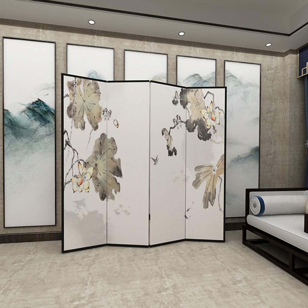 EVEN Divisor de pantalla Zen chino de 4 paneles, divisor de habitación independiente de muebles orientales, sala de estar de porche, dormitorio de estudio, pantalla plegable de madera extraíble: Amazon.es: Hogar