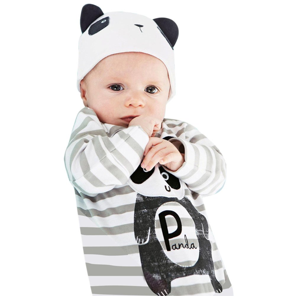Chic-Chic Ensemble B/éb/é Gar/çons Fille 2pc Combinaison Grenouill/ère Barboteuse Body Bonnet Chapeau Animal Cartoon Pyjama
