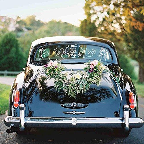 (Konsait Just Married Car Decal, Just Married Car Sticker Window Sticker Vinyl Window Cling for Wedding Bridal Car Decoration,Honeymoon Getaway, Newlywed Gift (Pack of 2))