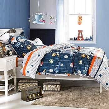 brandream kids boys baseball bedding set cartoon duvet cover full size - Baseball Bedding