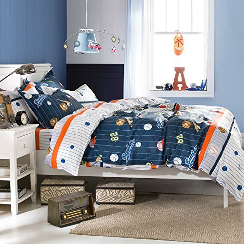 Brandream Kids Boys Baseball Bedding Set Cartoon Duvet Cover Full Size