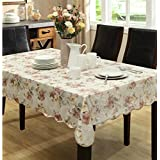 Eforcurtain Extra Long Flannel Back Table Cover Rectangle PVC Romantic Floral Tablecloth Waterproof, Beige, 60x104inch