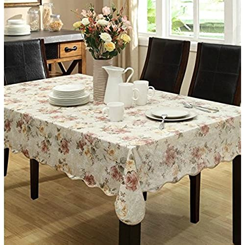 Eforcurtain Country Flannel Back Table Cover Long Rectangle PVC Floral  Tablecloth Waterproof, Beige, 60x90 Inch