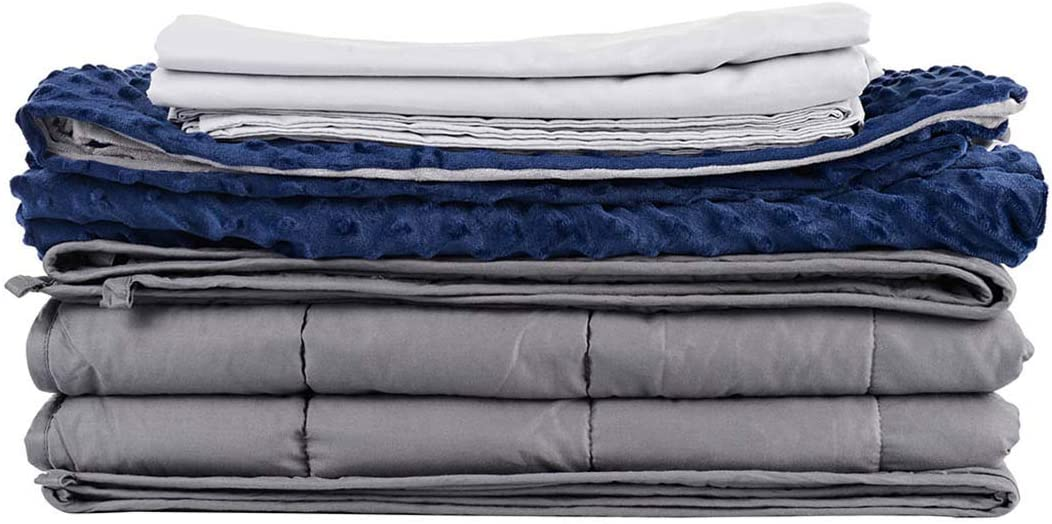 CuteKing Weighted Blanket 3 Pieces Set 80x87 Inches for Queen or King Size Bed, 25lbs for Individual or Couple weighing more than 200lbs, 1 heavy Blanket 2 Duvet Covers, 100% Oeko-Tex Certified Cotton